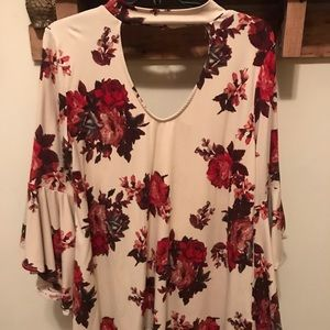 Choker neck floral too with bell sleeves!